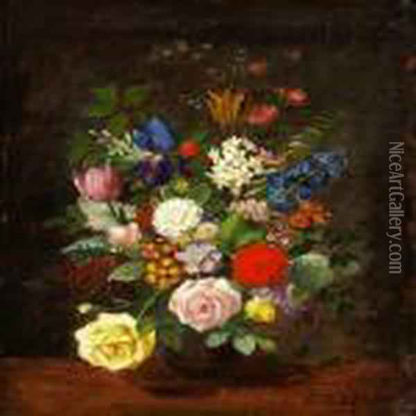 A Bunch Of Roses Oil Painting - Otto Didrik Ottesen
