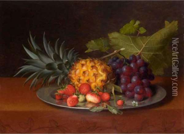 Still Life With Pineapple, Strawberries And Grapes Oil Painting - Otto Didrik Ottesen
