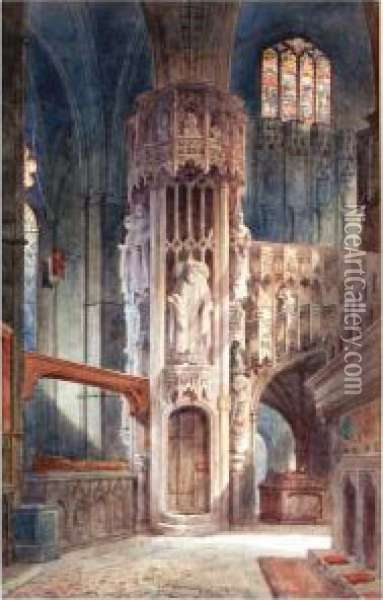 Royal Chapel, Westminster Abbey Oil Painting - Alfred Edward Parkman