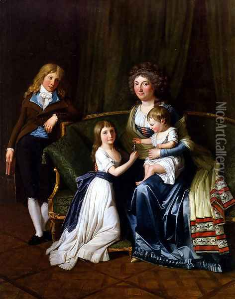 Portrait Of A Family In An Interior Oil Painting - Henri Pierre Danloux