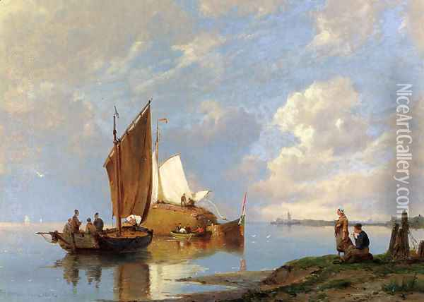 Off Volendam On The Zuiderzee Oil Painting - Pieter Christian Dommerson