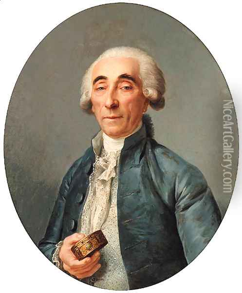 Portrait of Jean-Franois Lagrenee, bust-length, wearing a grey coat and a cravat, holding a snuff box Oil Painting - Joseph Siffrein Duplessis