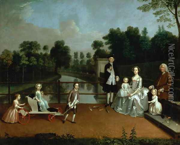 A Family Group on a Terrace in a Garden 1749 Oil Painting - Arthur William Devis