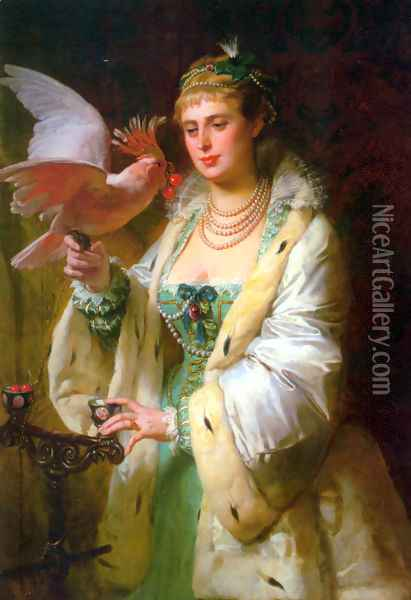 A Treat for her Pet Oil Painting - Edouard-Marie-Guillaume Dubufe