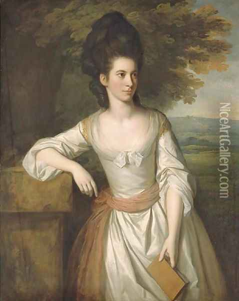 Portrait of Mrs. Vere, three-quarter-length, in a white dress with a pink sash, holding a book in her left hand, with a landscape beyond Oil Painting - Sir Nathaniel Dance-Holland