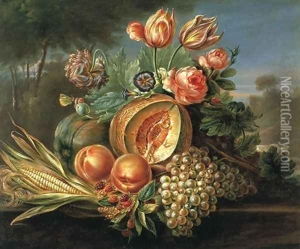 Still Life with Fruit and Flowers Oil Painting - Cornelius de Beet