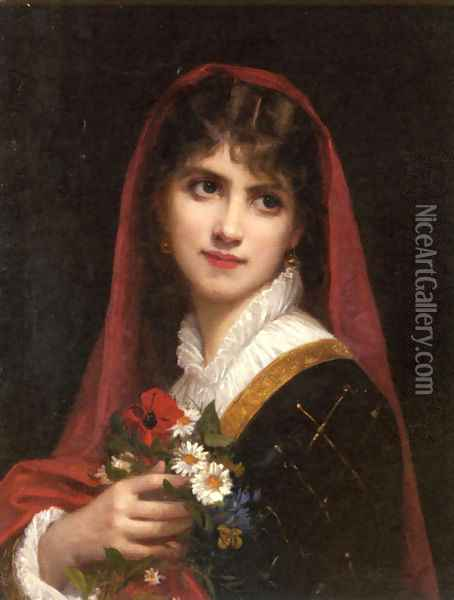 A Young Beauty wearing a Red Veil Oil Painting - Gustave Doyen