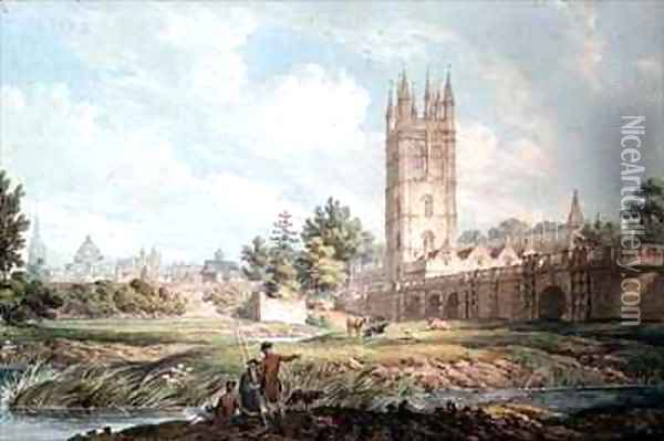 Magdalen College and Bridge Oxford from the River Oil Painting - Edward Dayes
