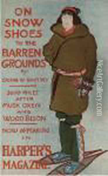 Harper's Magazine, On Snow Shoes Oil Painting - Edward Penfield