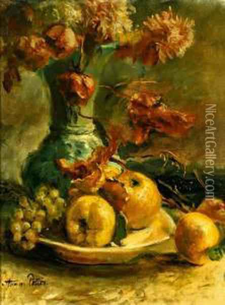 Obststilleben Mit Blutenvase Oil Painting - Anna Peters