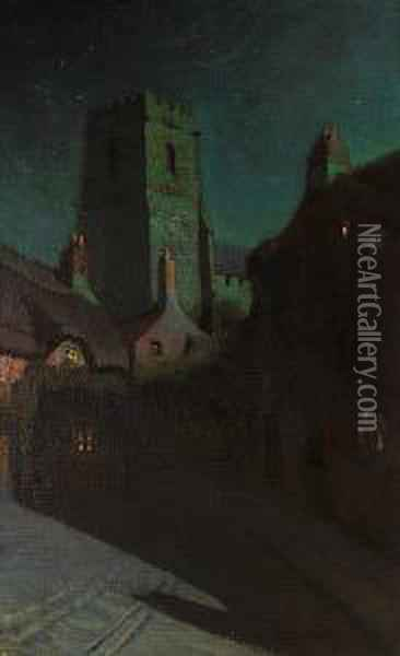 Moonlight On A Medieval Village Oil Painting - Charles Rollo Peters