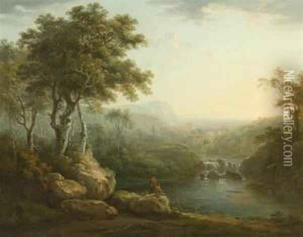 River Landscape With Travellers. Oil Painting - Abraham Pether