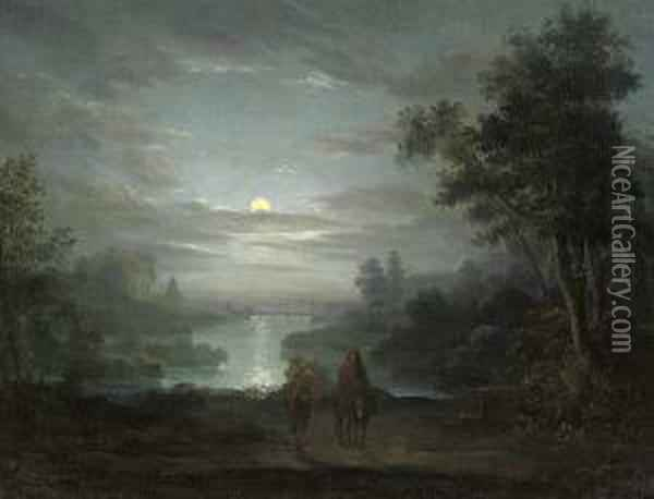 The Rest On The Flight Into Egypt Oil Painting - Abraham Pether