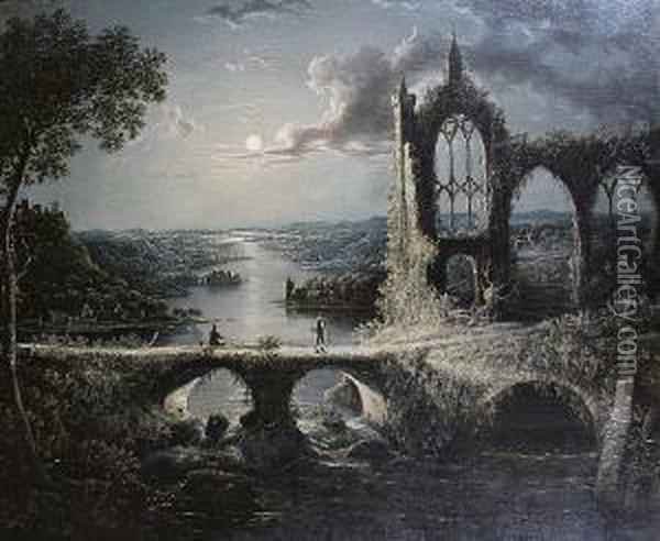 Moonlit River Landscape With Figures On Abridge Before Ruins Oil Painting - Abraham Pether