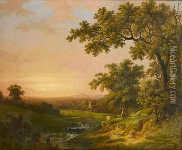 A River Landscape At Sunset With A Fisherman On The Bank In The Foreground Oil Painting - Abraham Pether