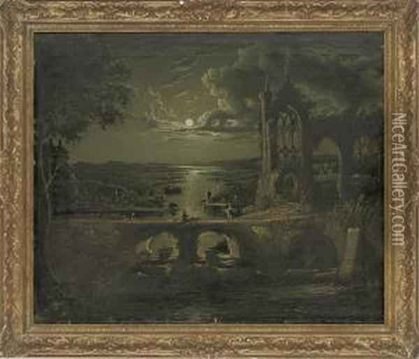 A Moonlit View Of A River With A Ruined Abbey In The Foreground And Figures On A Bridge Oil Painting - Abraham Pether