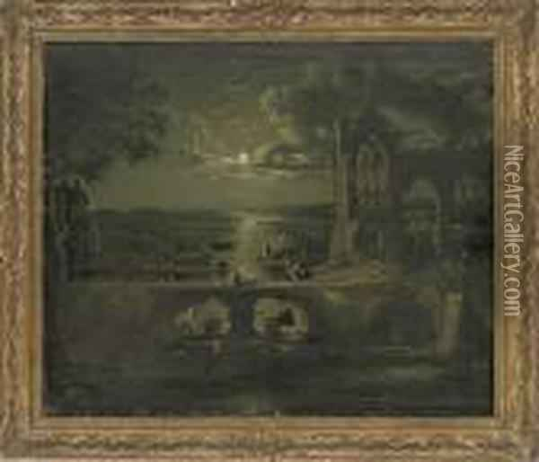 A Moonlit View Of A River With A Ruined Abbey In The Foreground Andfigures On A Bridge Oil Painting - Abraham Pether