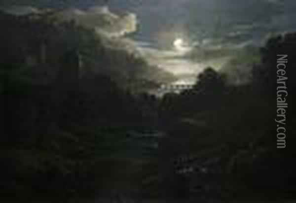 Classical Ruins By Moonlight Oil Painting - Abraham Pether
