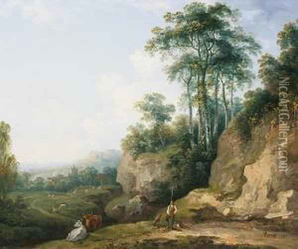 Drover And Cattle By An Outcrop Oil Painting - Abraham Pether