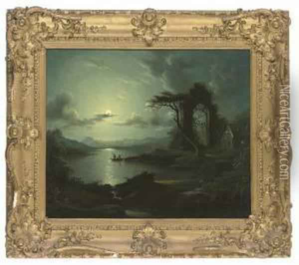 Fishing By The Full Moon Oil Painting - Abraham Pether