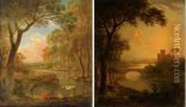 An Italianate River Landscape  With An Angler At Sunset; And A Wooded Landscape With A Shepherd And His  Flock By A Stream Oil Painting - Abraham Pether