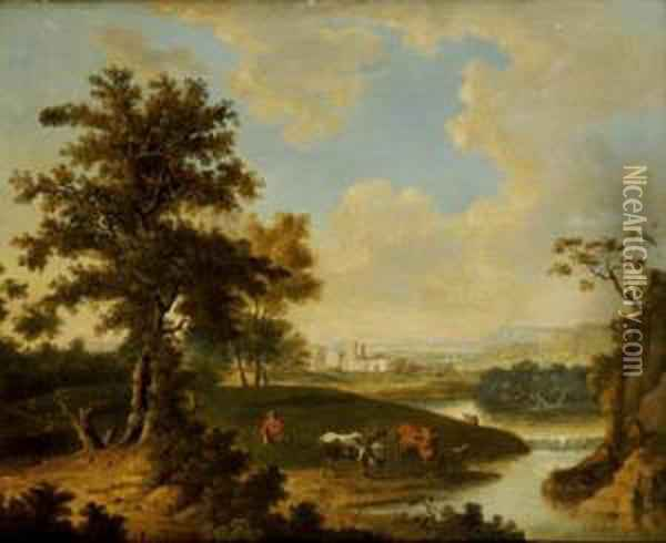 Shepherd Tending His Herd In A Continental Landscape Oil Painting - Abraham Pether