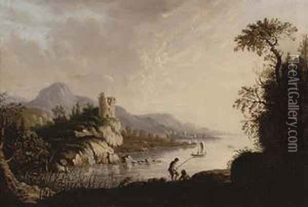 River Landscape With Fishermen In The Foreground, A Castle Beyond Oil Painting - Abraham Pether