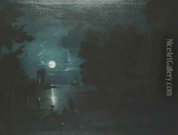 A Moonlit Estuary Scene, With Figures Around A Fire Oil Painting - Abraham Pether