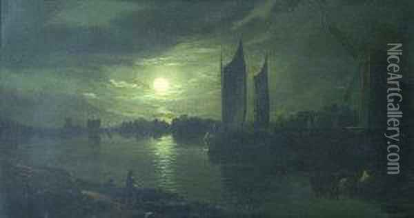 Moonlit River Landscape With Sailing Barges Oil Painting - Abraham Pether