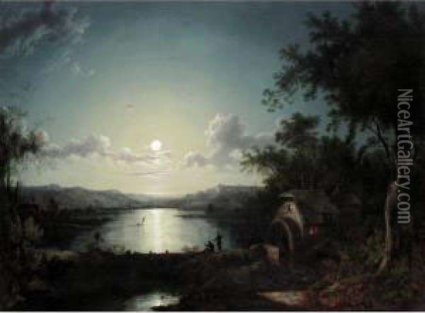 Fishermen At Moonlight Oil Painting - Abraham Pether