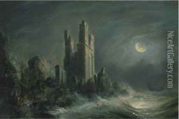 A Ruined Castle On A Stormy Moonlit Coast Oil Painting - Abraham Pether