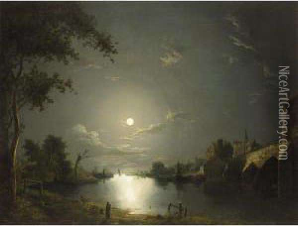 Moonlit River Landscape With A Town By A Bridge Oil Painting - Abraham Pether