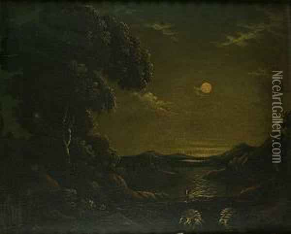 A Moonlit River Landscape With A Solitary Figure Crossing A Bridge In The Foreground Oil Painting - Abraham Pether