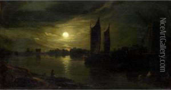 Barges By Moonlight Oil Painting - Abraham Pether