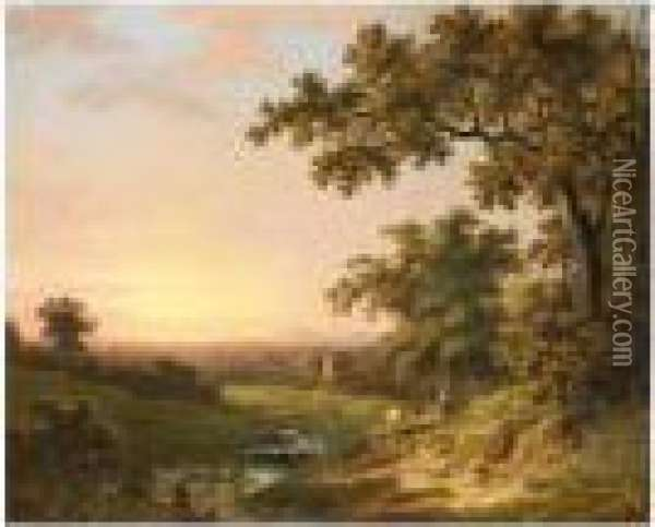 Extensive River Landscape At Sunset With A Fisherman In The Foreground Oil Painting - Abraham Pether
