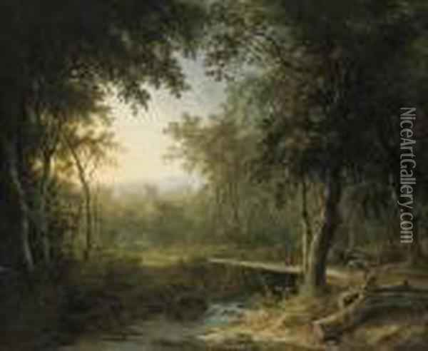 A Figure On A Bridge Before A Village At Dusk Oil Painting - Abraham Pether