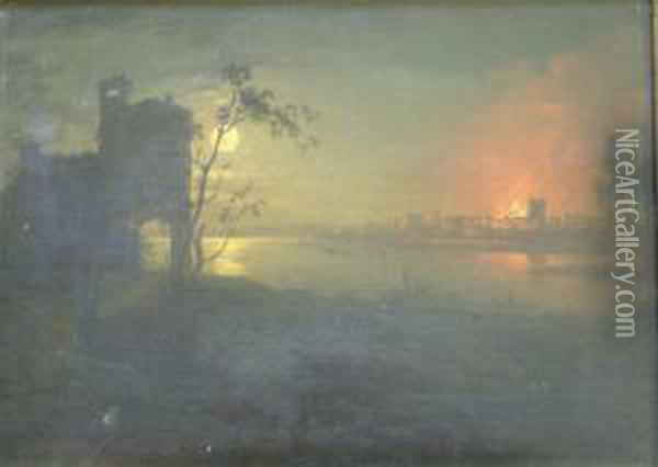 Moonlit Harbour With Burning Town Beyond 9 X 12.5in Oil Painting - Sebastian Pether