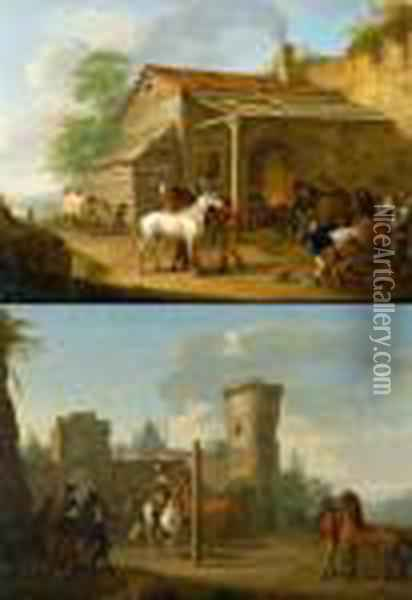 Counterpart: Horses At The Farrier / Horses Before A Ride. 1788. Oil Painting - Johann Georg Pforr