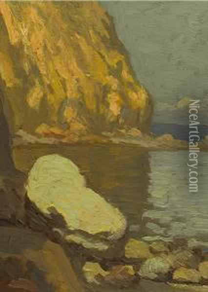 Coastal Rocks Oil Painting - Gottardo Piazzoni