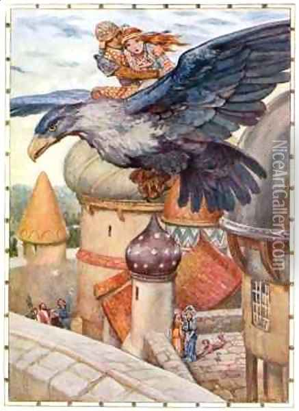 The Old Man was transformed into a blue winged eagle Oil Painting - Arthur A. Dixon