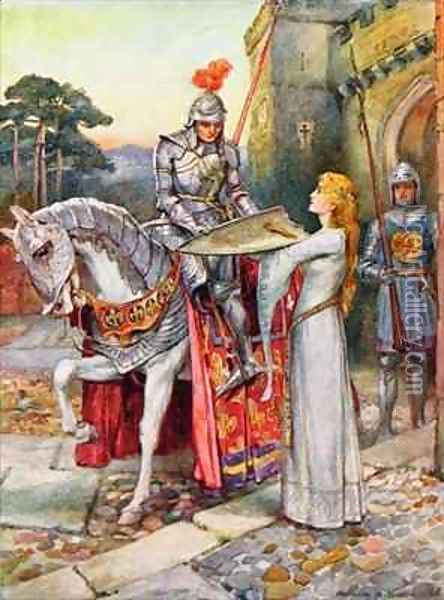 Sir Lancelot Gives his Shield into Elaines Keeping Oil Painting - Arthur A. Dixon