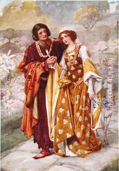 Lord Ronald and Lady Clare Oil Painting - Arthur A. Dixon