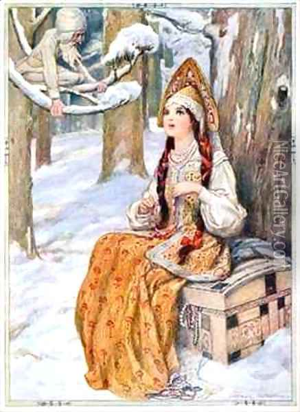From the Frost The Frost could not help admiring her Oil Painting - Arthur A. Dixon