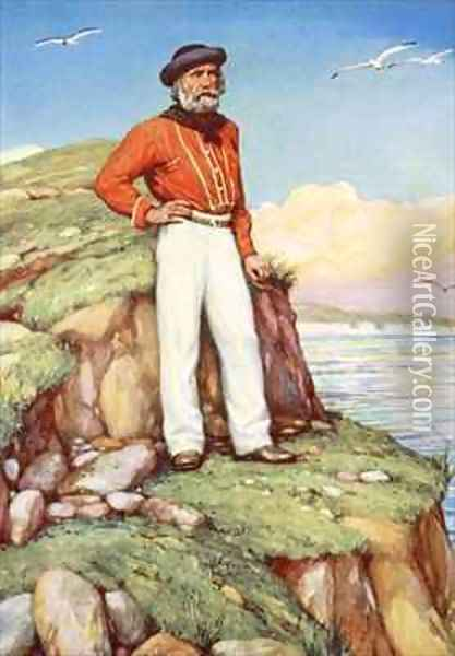 Giuseppe Garibaldi on a cliff ledge on the island of Caprera gazing out towards Italy Oil Painting - Arthur A. Dixon