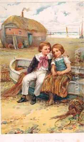 David and Little Emily Oil Painting - Arthur A. Dixon