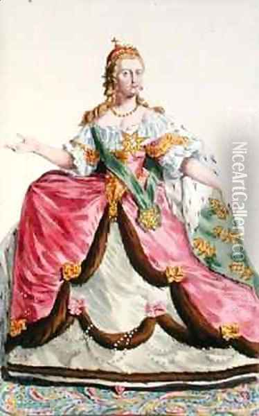 Portrait of Empress Catherine II The Great of Russia 1729-96 Oil Painting - Pierre Duflos