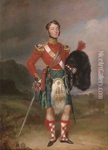 Portrait of Captain Robert Williamson Ramsay, small full-length, in the uniform of the 42nd Foot, the Black Watch, in a Highland landscape Oil Painting - Charles Achille D'Hardiviller