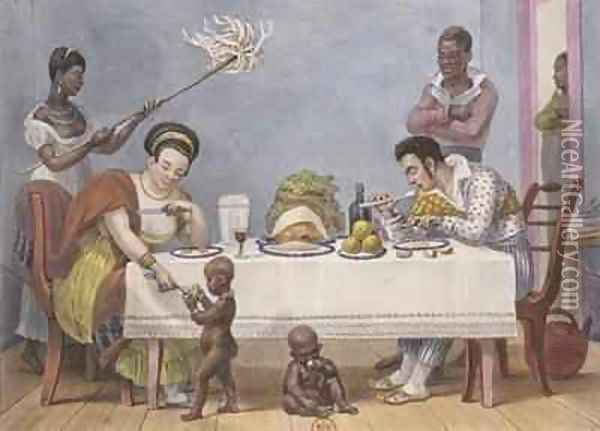 The Dinner a white couple being served and fanned by black slaves Oil Painting - Jean Baptiste Debret