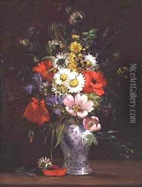 Still life with flowers in a vase 2 Oil Painting - Louise Darru