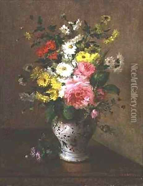 Still life with flowers in a vase Oil Painting - Louise Darru